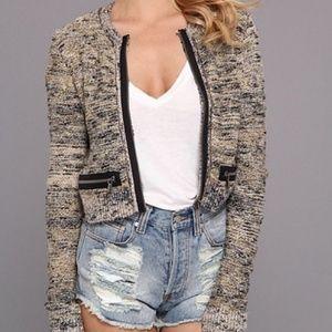 Free People Heart Beeps Cropped Sweater Jacket L